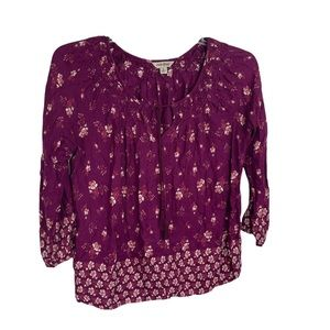 Lucky Brand S 3/4 Sleeve Top Purple/red Floral